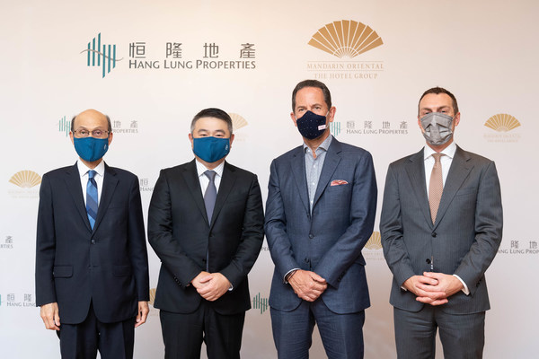 (From left to right) Mr. Norman Chan, Executive Director of Hang Lung Properties; Mr. Weber Lo, Chief Executive Officer of Hang Lung Properties; Mr. James Riley, Group Chief Executive of Mandarin Oriental; Mr. Craig Beattie, Group Chief Financial Officer of Mandarin Oriental pose for a photograph after inking the partnership between Hang Lung Properties and Mandarin Oriental to open the first Mandarin Oriental in Hangzhou at Hang Lung's prestigious Westlake 66 complex