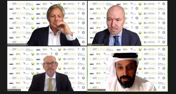 出席今天杜拜JGT線上新聞發布會的演講嘉賓(左上角起順時針方向): Informa Markets 亞洲區高級副總裁龐大為,IEG行政總裁Corrado Peraboni,DMCC執行主席兼行政總裁Ahmed Bin Sulayem及DMCC特別顧問Martin Leake(發佈會主持人)