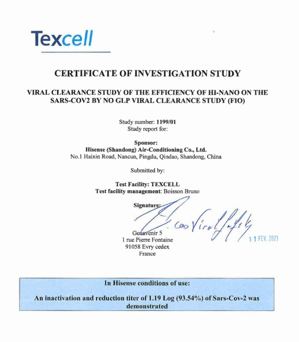 Texcell has verified the inhibitory effect on the novel coronavirus (SARS-CoV-2) of Hisense's HI-NANO technology.