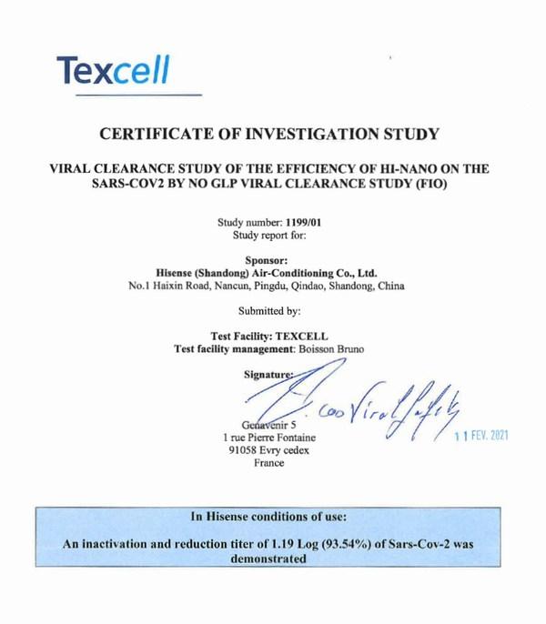 TexcellはハイセンスのHI-NANOテクノロジーの新型コロナウイルス(SARS-CoV-2)抑制効果を実証した。