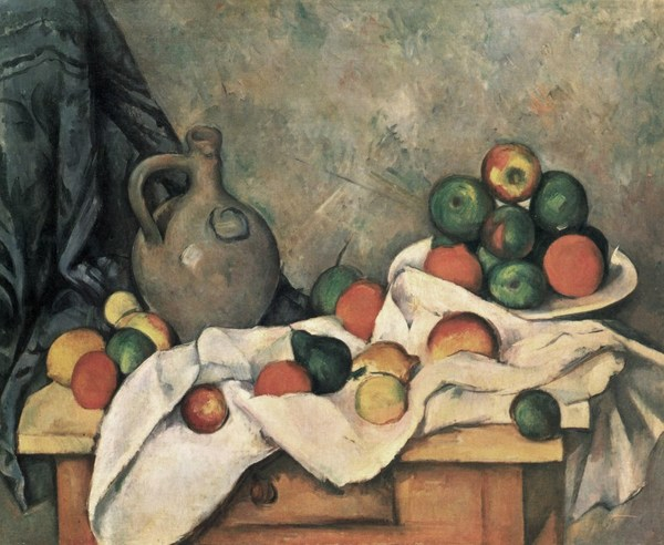 Paul Cezanne, Curtain, jug and fruit bowl (c.1893-1894), Oil on canvas. 59.5 x 73 cm