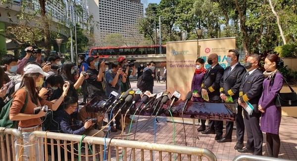 香港航空の乗務員が市内でいち早くワクチン接種受ける