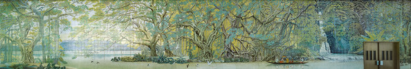 """A detail from the mural """"Song of the Forest"""" by Zhu Danian."""