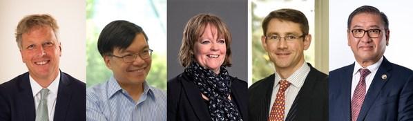 哈罗亚洲奖学金评审团,从左至右:Toby Salt教授、张英相荣誉教授、Samantha Twiselton教授、Alastair Land先生、邱达强先生