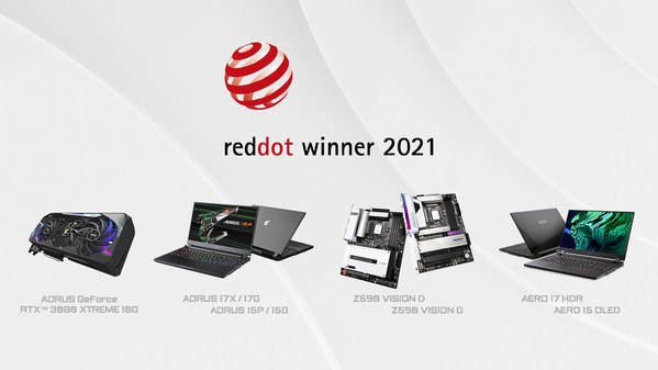 GIGABYTE Wins Big at Red Dot Design Awards 2021