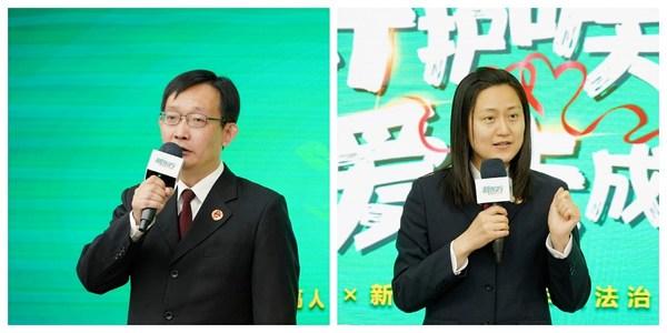 最高人民检察院第九检察厅副厅长李峰(左)、二级高级检察官李薇(右)