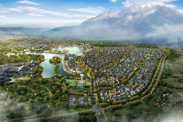 复游城-丽江地中海国际度假区 整体鸟瞰效果图