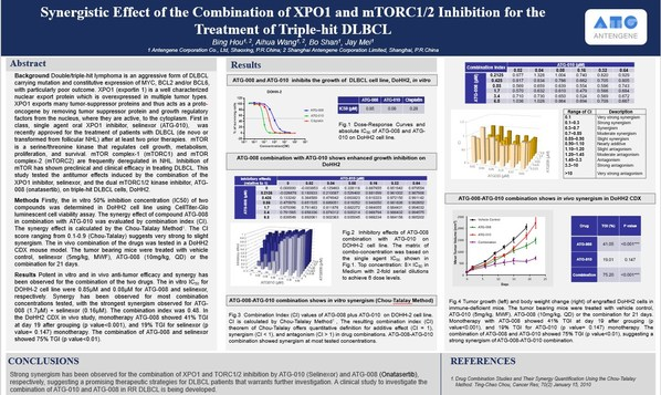 数据亮眼!德琪医药ATG-010(Selinexor)联合ATG-008 (Onatasertib)治疗三重打击DLBCL的协同效果显著