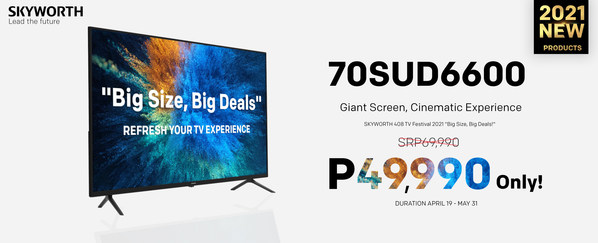 """Big Size, Big Deals"" 70SUD6600 Home Cinema TV"