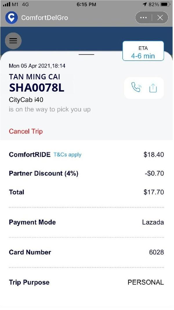 ComfortDelGro service within Lazada