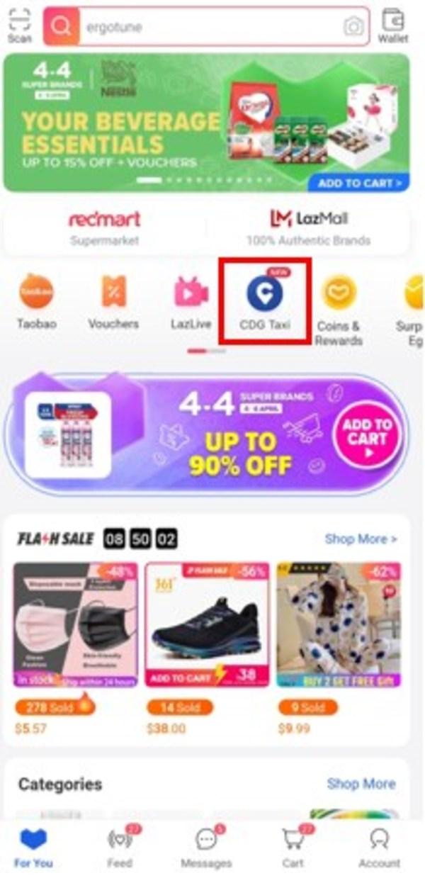 ComfortDelGro tile on Lazada homepage