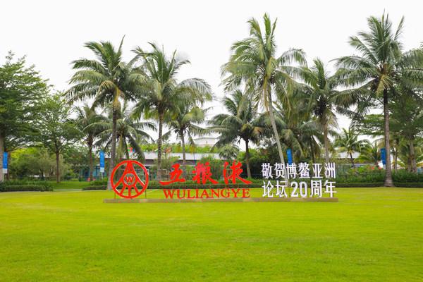 圖為海南舉行的博鰲亞洲論壇2021年年會草地上中國白酒龍頭企業五糧液的標誌。