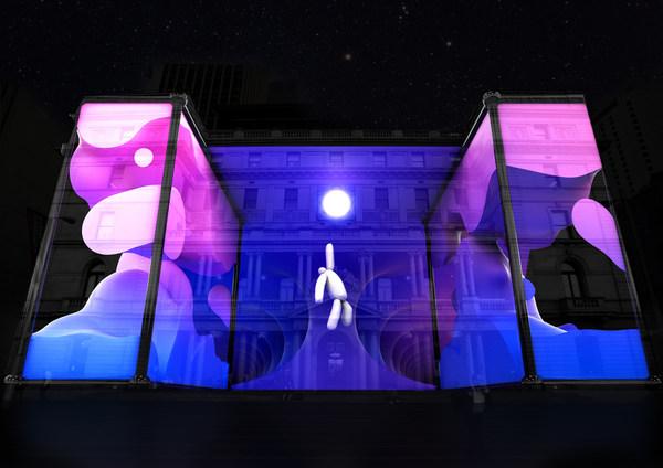 2021年缤纷悉尼灯光音乐节在海关大楼呈现《VORAX》,供图:新南威尔士州旅游局