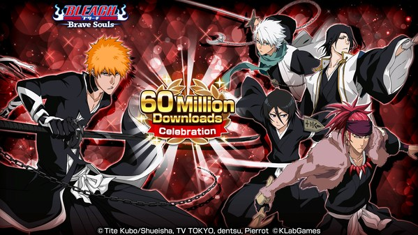 """Bleach: Brave Souls"" Reaches Over 60 Million Downloads Worldwide! Starting on Friday, April 30, the 60 Million Downloads Celebration will kick off in-game in commemoration of this milestone. Also, from Saturday, May 1 there will be a social media campaign where fans will have a chance to win original Brave Souls swag! Furthermore, from Friday, April 30 the limited Event: Movie Pieces D/F/H will begin and players will have the chance to get new characters in the Movie Summons: Jet Black!"
