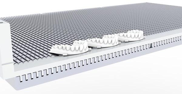 联泰自主研发的专利技术 -- 齿槽式智能精密结构仿生学原理的机械结构,让剥离力极小,确保牙模的安全,提高稳定性,干净利索完成铲件。优异的设计同时保障高可靠性、高稳定性、易维护性。