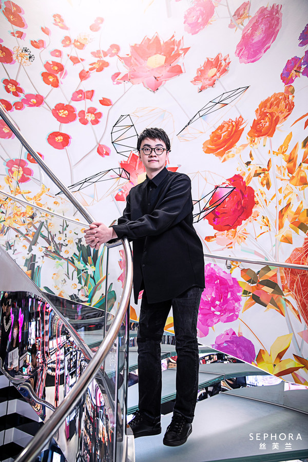 """The acclaimed young Chinese artist Chen Baoyang with his digital artwork """"Algorithmic Blossom"""""""