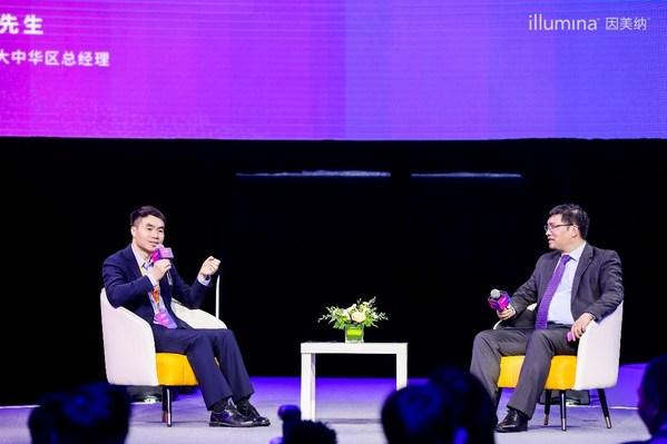 现场访谈:诺禾致源上市之路 左起:诺禾致源创始人、董事长兼CEO 李瑞强,因美纳全球副总裁兼大中华区总经理 李庆