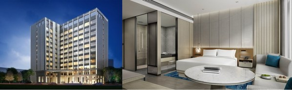 从左至右:江阴万怡酒店外观效果图、豪华大床房效果图