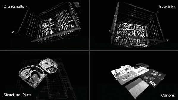 典型工件(曲轴、链轨节、结构件)和纸箱的点云图 ( >15000 lx环境光照度下采集)