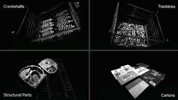 典型工件(曲軸、鏈軌節、結構件)和紙箱的點雲圖 ( >15000 lx環境光照度下采集)