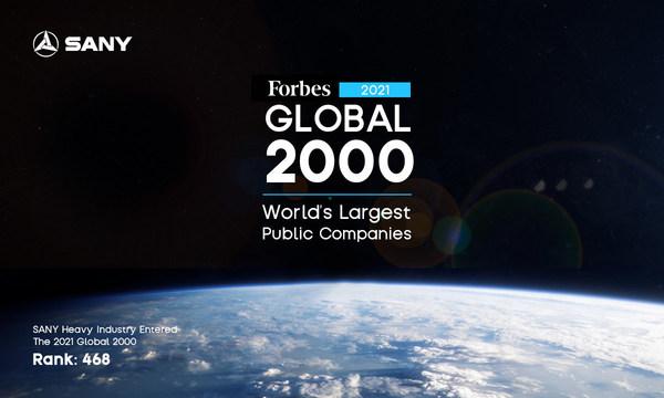 SANY, 2021년 포브스 순위에서 중국 최대의 중장비 제조업체로 선정