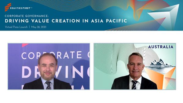 EquitiesFirst의 아시아 최고경영자 Gordon Crosbie-Walsh (왼쪽)과EquitiesFirst의 호주 최고경영자 Mitchell Hopwood (오른쪽).