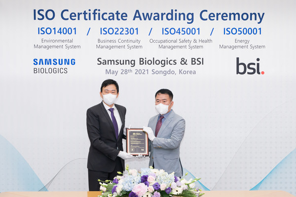 Samsung Biologics Adds Four Global ISO Certifications For BCMS, Energy, Health & Safety, and Environmental Management