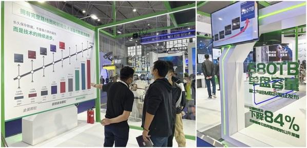 富士胶片(中国)在2021数博会上介绍了最新研发的使用锶铁氧体的磁性颗粒磁带,能够实现580TB的单盘存储容量