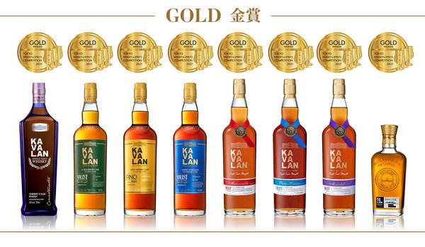 2021年TWSC東京國際威士忌與烈酒競賽,金車噶瑪蘭總共抱回「2021最佳單一麥芽威士忌」、4面最高金賞與8面金賞的多項肯定。