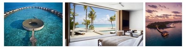 L-R_ Aerial View of The Ritz-Carlton Spa, Two Bedroom Beach Pool Villa, and Arrival Pontoon at The Ritz-Carlton Maldives, Fari Islands