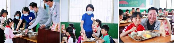 百勝中國的代表爲孩子們分發餐點