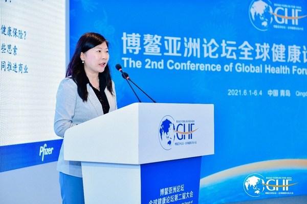 辉瑞生物制药集团中国区市场营销副总裁王怡亲在启动仪式上发言