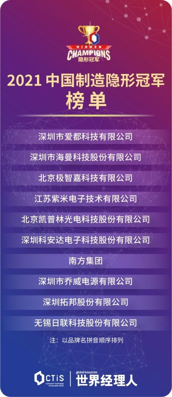 """2021""""中国制造隐形冠军""""榜单"""