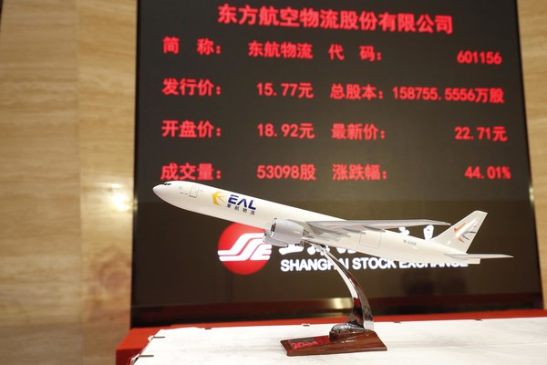 Eastern Air Logistics (EAL), a subsidiary of China Eastern Airlines Group, officially landed in A-share market