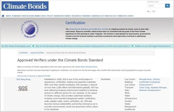 SGS获得由气候债券倡议组织颁发的核查机构资质