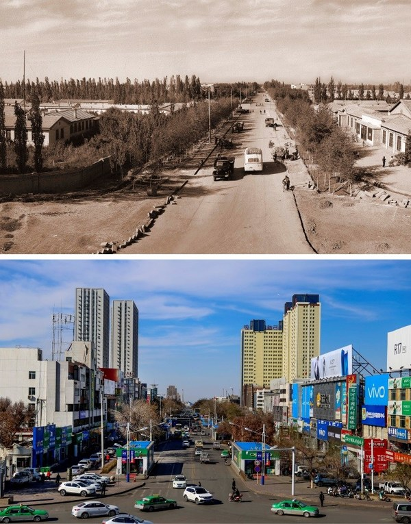 Beiziwu Street in Shihezi, some 150 km west of Urumqi, Xinjiang Uygur Autonomous Region, in the 1950s (above) and 2019 (XINHUA)