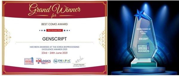 진스크립트, Korea Bioprocessing Award 2021 'Best CDMO' 수상