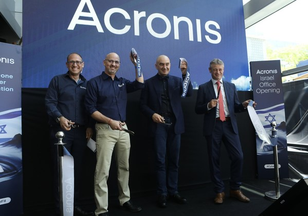 From left to right: Noam Herold, Acronis VP of Security & Research Services, Shachar Rabbe, Acronis CFO, Serguei Beloussov, Acronis founder & CEO, and Ambassador Jean-Daniel Ruch, Swiss Ambassador to Israel