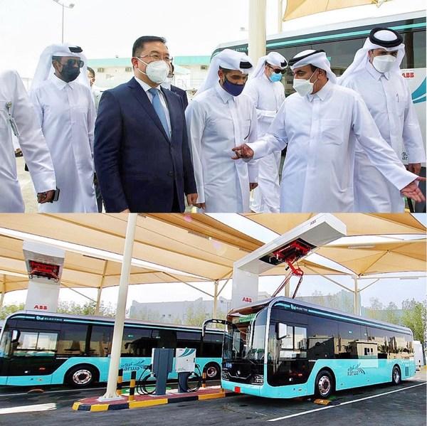 首批电动客车亮相卡塔尔,宇通助力卡塔尔建设绿色交通体系