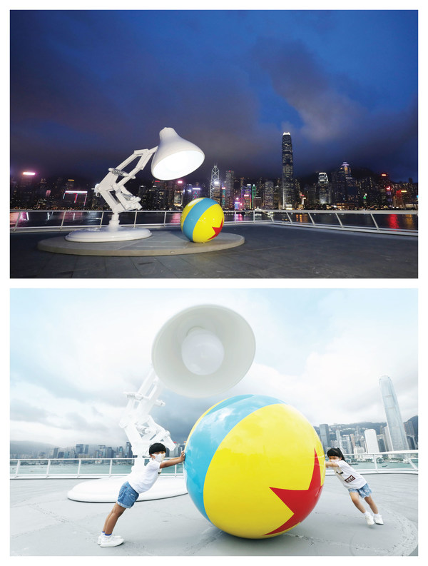 極具代表性的Pixar Ball and Lamp首次在香港亮相,設於海港城商場的「海運觀點」觀景台。