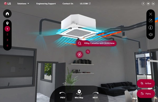 LG Virtual Experience showcasing 4-way Cassette with DUAL Vane in General Office Space