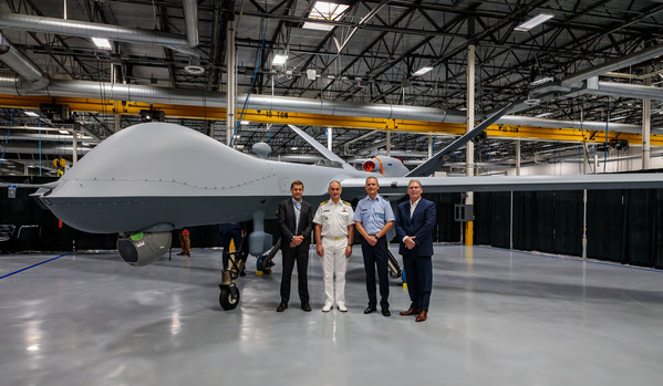 GA-ASI and the RNLAF commemorated the completion of the RNLAF's first MQ-9A Block 5 on July 7, 2021. From left to right: GA-ASI CEO Linden Blue, Vice Adm. Arie Jan De Waard, Lt. Gen. Dennis Luyt, and GA-ASI President David R. Alexander.