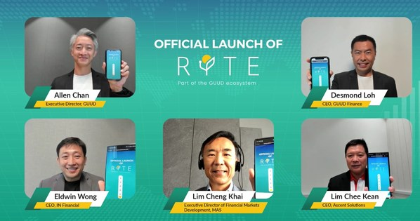 Official Digital Launch of RYTE – Guest of Honour (in centre) with key members and partners officiating the launch of RYTE