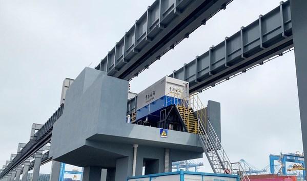 同方威视全球首创空轨集装箱监管系统落地青岛港