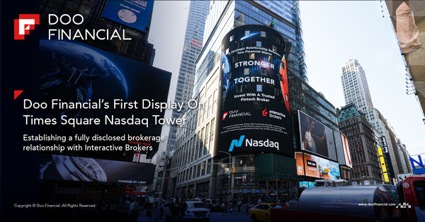 Doo Financial's First Display On Times Square Nasdaq Tower, Establishing A Fully Disclosed Brokerage Relationship With Interactive Brokers