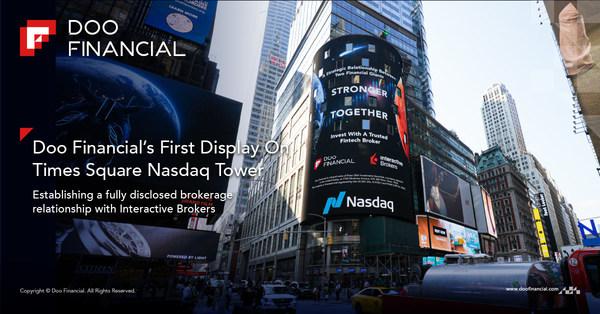 Triển lãm công khai đầu tiên của Doo Financial trên tòa nhà Nasdaq tại Quảng trường Thời đại thúc đẩy thiết lập mối quan hệ môi giới tin tưởng nhau tuyệt đối với Interactive Brokers