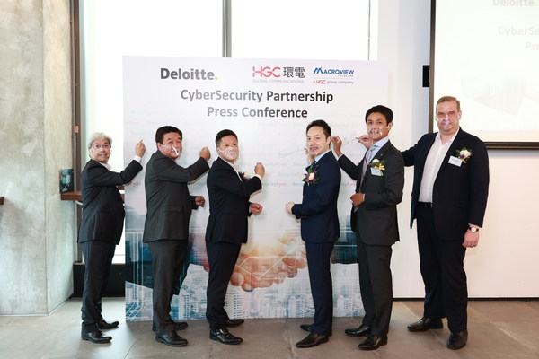 The signing ceremony is officiated by the 6 honorable guests (from left to right): Mr Alvin Wong, Commercial Director, Macroview Telecom; Mr Victor Share, Chief Executive Officer of Macroview Telecom; Mr Andrew Kwok, Chief Executive Officer of HGC; Mr Edward C.H., Au, Managing Partner, Southern Region of Deloitte China; Mr Akihiro Matsuyama, Deputy National Managing Partner, Risk Advisory, Deloitte China; Mr. Miro Pihkanen, Partner, Cyber Risk Services, Deloitte China.