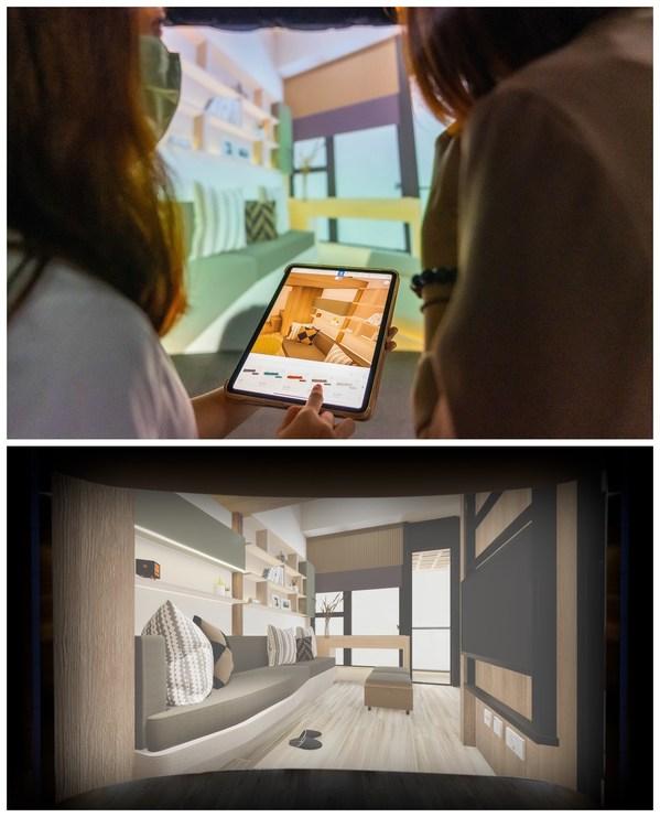 用家可透過 Oodles 特設應用程式(上),並以立體投影顯示技術呈現的超真實投影畫面(下),率先感受新居的設計效果