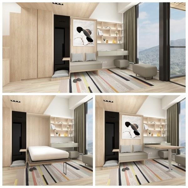 方案設有多功能活動式木桌(右下)、隱藏式摺疊床(左下),用家可自由移動組件,改變空間用途