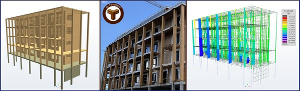 A model of a multistory hybrid mass timber building in S-FRAME's S-TIMBER software object view (left) and the resultant column force view (right).